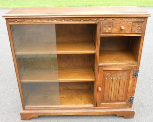 Low Oak Bookcase by Old Charm